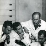 Miembros de BBPR en 1934. Empezando por la izquierda: Enrico Peressutti, Ludovico Belgiojoso, Ernesto Nathan Rogers y Gian Luigi Banfi